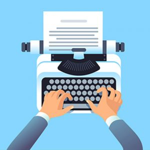 Writer author write article with typewriter. Mans hands type story for paper book or blog. Blogging and copywriting vector concept